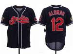 Cleveland Indians #12 Roberto Alomar Navy 1995 World Series Cooperstown Collection Cool Base Jersey
