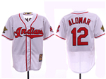 Cleveland Indians #12 Roberto Alomar White 1995 World Series Cooperstown Collection Cool Base Jersey