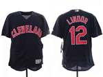 Cleveland Indians #12 Francisco Lindor 2019 Alternate Navy Flex Base Jersey