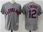 Cleveland Indians #12 Francisco Lindor Gray Flex Base Jersey