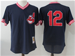 Cleveland Indians #12 Francisco Lindor Navy Cooperstown Mesh Batting Practice Jersey