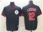 Cleveland Indians #12 Francisco Lindor Cooperstown Throwback Black Jersey