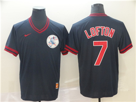 Cleveland Indians #7 Kenny Lofton Cooperstown Throwback Black Jersey