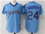 Seattle Mariners #24 Ken Griffey Jr. Light Blue Cooperstown Cool Base Jersey