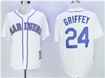 Seattle Mariners #24 Ken Griffey Jr. White Cooperstown Cool Base Jersey