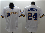Seattle Mariners #24 Ken Griffey Jr. White Cooperstown Flex Base Jersey