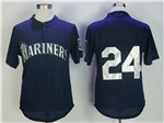 Seattle Mariners #24 Ken Griffey Jr. Throwback Navy Mesh Batting Practice Jersey