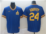 Seattle Mariners #24 Ken Griffey Jr. Cooperstown Throwback Blue Jersey