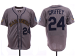 Seattle Mariners #24 Ken Griffey Jr. Throwback Gray Jersey