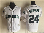 Seattle Mariners #24 Ken Griffey Jr. Throwback White Jersey