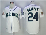 Seattle Mariners #24 Ken Griffey Jr. 1995 Throwback White Jersey