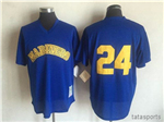 Seattle Mariners #24 Ken Griffey Jr. Throwback Royal Cooperstown Mesh Batting Practice Jersey