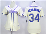 Seattle Mariners #34 Félix Hernández Women's Cream Cool Base Jersey