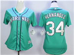 Seattle Mariners #34 Félix Hernández Women's Green Cool Base Jersey