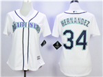 Seattle Mariners #34 Félix Hernández Women's White Cool Base Jersey