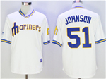 Seattle Mariners #51 Randy Johnson Throwback White Jersey