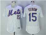 New York Mets #15 Tim Tebow Home White Pinstripe Flex Base Jersey