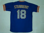 New York Mets #18 Darryl Strawberry 1985 Blue Throwback Jersey