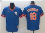New York Mets #18 Darryl Strawberry Blue Throwback Jersey