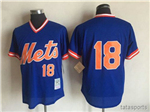 New York Mets #18 Darryl Strawberry Royal Cooperstown Mesh Batting Practice Jersey