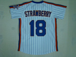 New York Mets #18 Darryl Strawberry 1986 White Pinstripe Throwback Jersey