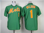 New York Mets #1 Mookie Wilson Throwback Green Jersey
