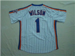 New York Mets #1 Mookie Wilson 1986 Throwback White Pinstripe Jersey