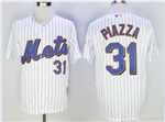 New York Mets #31 Mike Piazza Throwback White Pinstripe Jersey