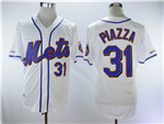 New York Mets #31 Mike Piazza White Throwback Jersey
