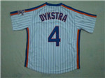 New York Mets #4 Lenny Dykstra 1986 Throwback White Pinstripe Jersey