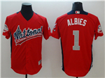 National League #1 Ozzie Albies Red 2018 MLB All-Star Game Home Run Derby Jersey
