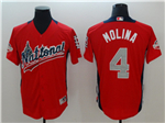 National League #4 Yadier Molina Red 2018 MLB All-Star Game Home Run Derby Jersey