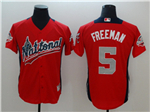 National League #5 Freddie Freeman Red 2018 MLB All-Star Game Home Run Derby Jersey