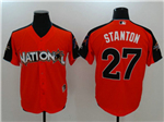 National League #27 Giancarlo Stanton Red 2017 MLB All-Star Game Home Run Derby Jersey