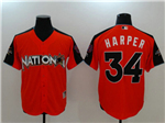 National League #34 Bryce Harper Red 2017 MLB All-Star Game Home Run Derby Jersey