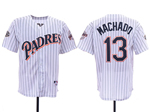 San Diego Padres #13 Manny Machado White Pinstripe 50th Anniversary Turn Back The Clock Jersey