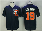 San Diego Padres #19 Tony Gwynn Throwback Navy Cooperstown Mesh Batting Practice Jersey