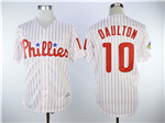 Philadelphia Phillies #10 Darren Daulton 1993 White Pinstripe Throwback Jersey