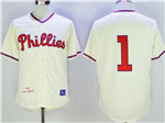 Philadelphia Phillies #1 Richie Ashburn 1948 Throwback Cream Jersey