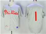 Philadelphia Phillies #1 Richie Ashburn 1950 Throwback Gray Jersey