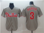 Philadelphia Phillies #3 Bryce Harper Gray Cool Base Jersey