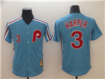 Philadelphia Phillies #3 Bryce Harper Blue Cooperstown Collection Cool Base Jersey