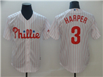 Philadelphia Phillies #3 Bryce Harper White Pinstripe Cool Base Jersey
