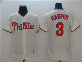 Philadelphia Phillies #3 Bryce Harper Cream Flex Base Jersey