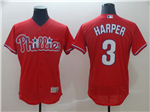 Philadelphia Phillies #3 Bryce Harper Red Flex Base Jersey