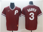 Philadelphia Phillies #3 Bryce Harper Throwback Burgundy Team Jersey