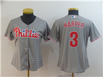 Philadelphia Phillies #3 Bryce Harper Women's Gray Cool Base Jersey