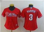 Philadelphia Phillies #3 Bryce Harper Women's Red Cool Base Jersey