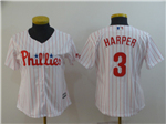 Philadelphia Phillies #3 Bryce Harper Women's White Pinstripe Cool Base Jersey