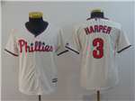 Philadelphia Phillies #3 Bryce Harper Youth Cream Cool Base Jersey
